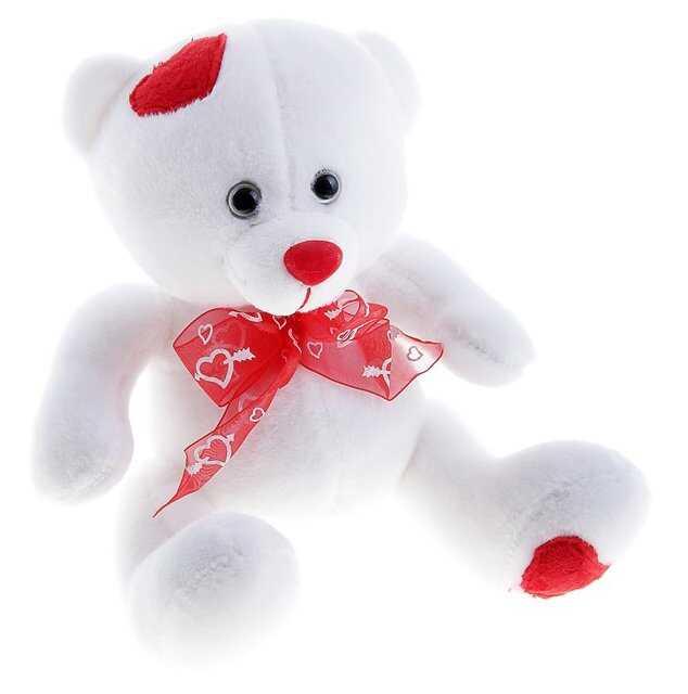 Мягкая игрушка «Мишка белый с сердечками»