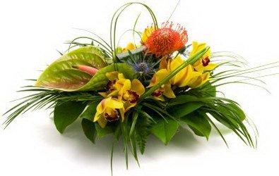 «Кантри» Восхитительный и неортодоксальные настольная композиция. Эта великолепная тропическая композиция из зелени,орхидей и антуриумов ярких оттенков... Доставка в Иртек.