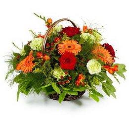 «Ассорти» Воздушная и яркая корзина цветов. На фоне сочной зелени прекрасно чувствуют себя оранжевые герберы и другие цветы в персиково-красной гамме. В...
