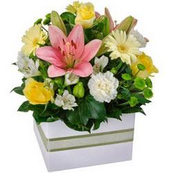 «К празднику» К празднику бы коробочку, да с цветочными чудесами! Хризантемы, розы, герберы, лилии, альстромерии и зелени побольше! Можно бесконечно...