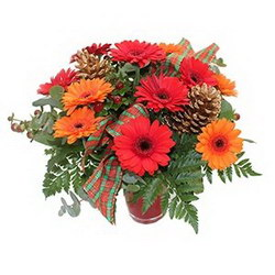 «По случаю» Сезонная красивая композиция в красно-рыжих тонах с запахом хвои. Доставка в Болонино.
