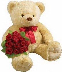 «Важный мишка» Прекрасный подарок как для ребенка так и для взрослого-любителя игрушек. Медведь с розами. Цвет Розы можно заменить на любую цветовую гамму по... Доставка в Страхины.