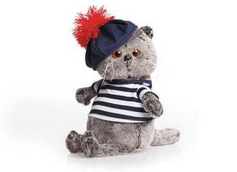 «Басик  (кот)-моряк» Кот в матросском костюмчике. Тельняшка из хлопкового трикотажа и мягкий беретик с большим красным помпоном.