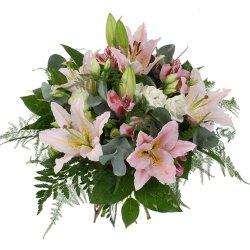 «Меростар» Букет из ароматных розовых лилий  с зеленью - изысканный и романтичный.  Подарите на День рождения или просто так. Пожелайте, чтобы  жизнь была... Доставка в Чулково.