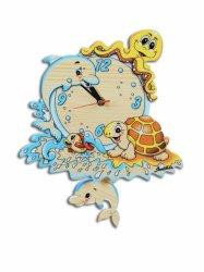 Сувенир «Часы настенные с маятником средние Морские обитатели»