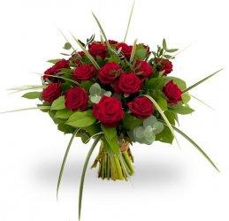 «Красный первоклассный!» Яркий букет красных первоклассных роз с изумрудной зеленью салала, травы, берграса и ароматных листьев эвкалипта. Букет на картинке может слегка...